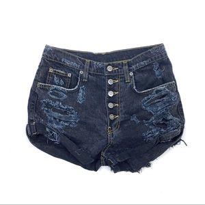 LF CARMAR High Rise 5 Button Distressed Shorts